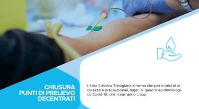 ULSS 2: restano chiusi i punti di prelievo del sangue decentrati