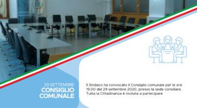 Convocazione del Consiglio comunale 29 settembre 2020