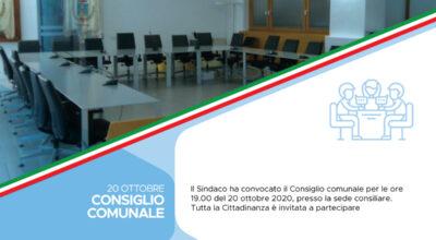 Convocazione del Consiglio comunale 20 ottobre 2020 – In videoconferenza