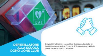 Defibrillatore alla scuola: donazione del Lions club Susegana
