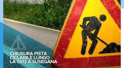 Chiusura della pista ciclabile lungo la SS13 a Susegana dalla progressiva KM 45+370 al KM 45+620 per l'esecuzione rappezzi in asfalto